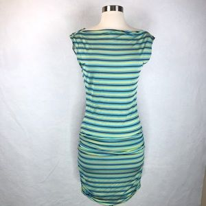 BCBGMaxazria Green Stripe Sleeveless Bodycon Dress